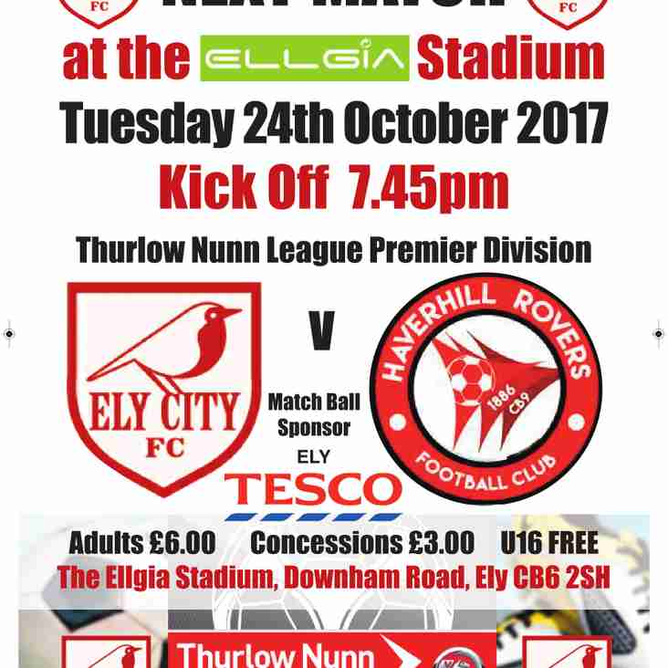 ***Match Sponsorship Still Available v Haverhill Rovers Tues 24th Oct***