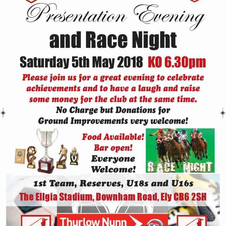 Presentation Evening and Race Night Saturday 5thMay