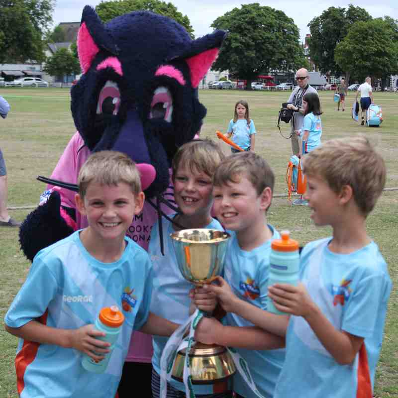 Pinky the Middlesex Mascot & County Championship Trophy