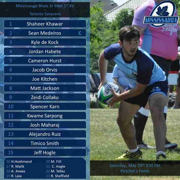 Line-up Announced For Sr Men Game vs Toronto Saracens
