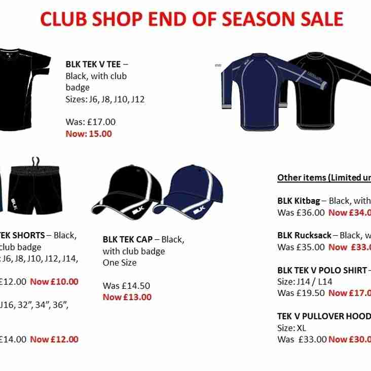 Club Shop End of Season Sale