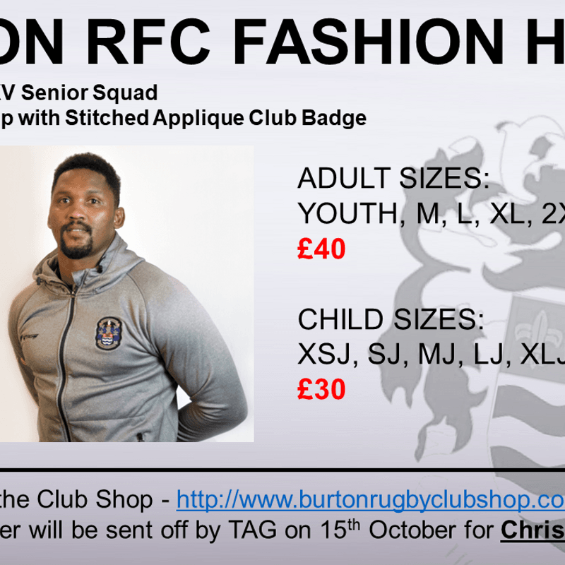 Orders now being taken for Burton RFC Fashion Hoody