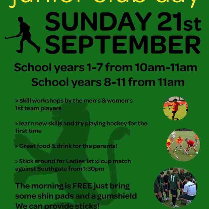 Junior club day Sunday 21st Sept