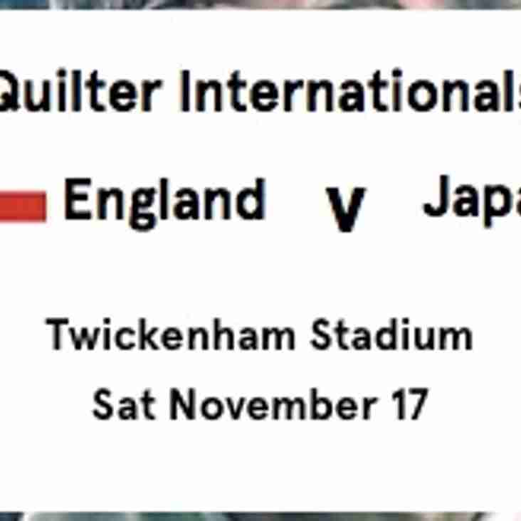 England -v- Japan Unlimited Tickets Available