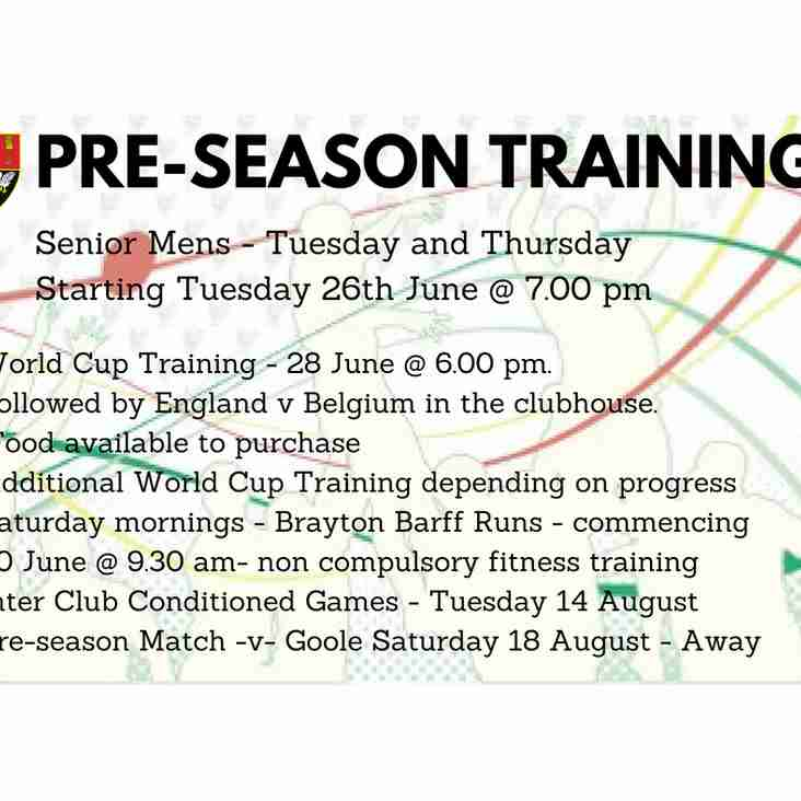 Notice of Pre Season Training