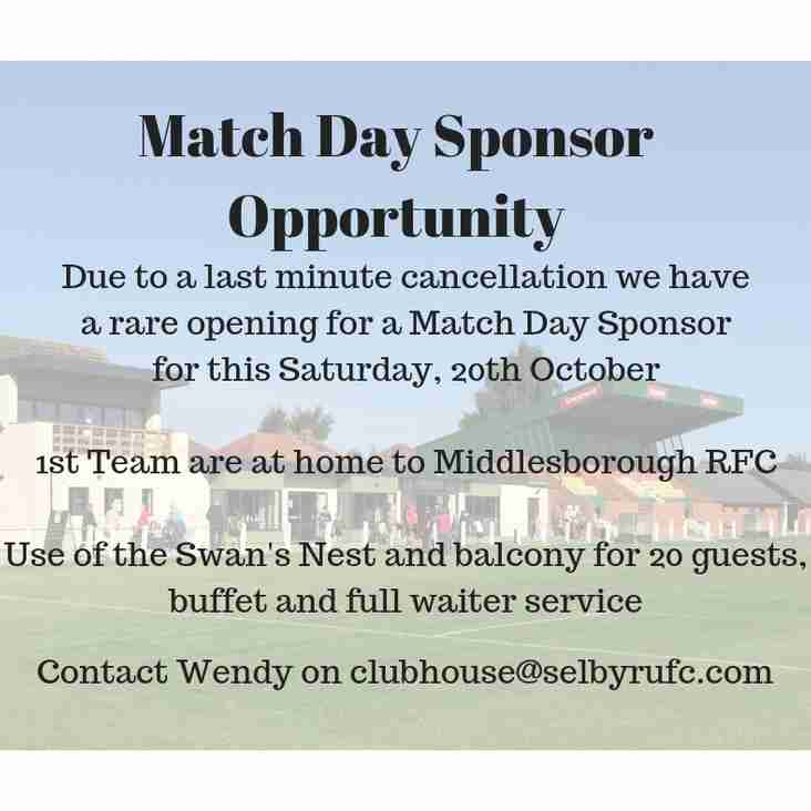 Match Day Sponsor Opportunity