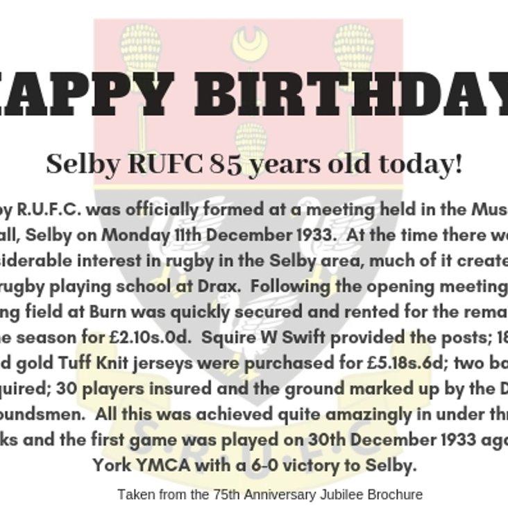 Happy Birthday Selby RUFC!<