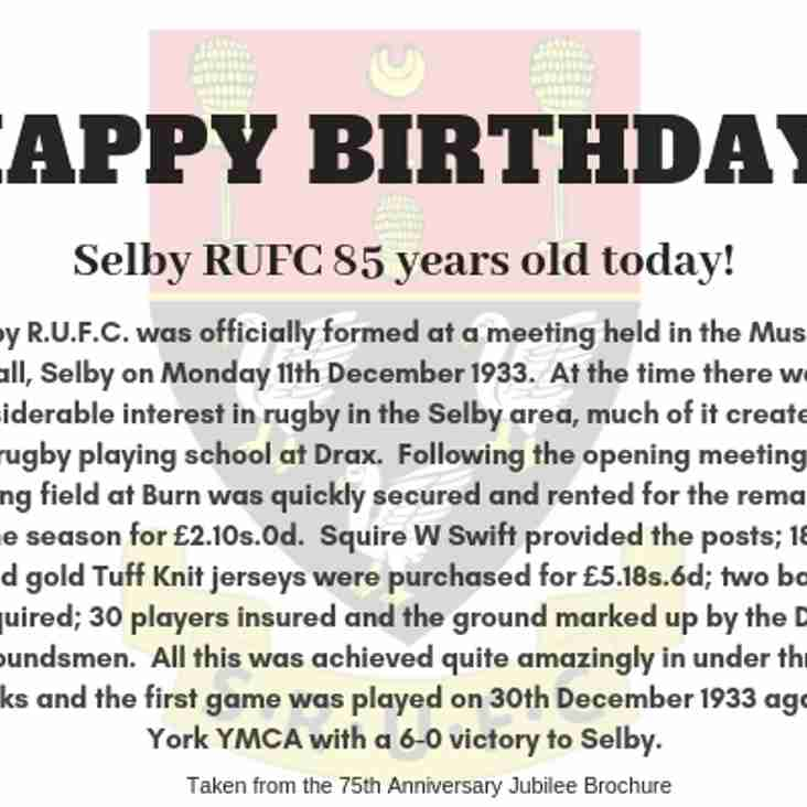 Happy Birthday Selby RUFC!