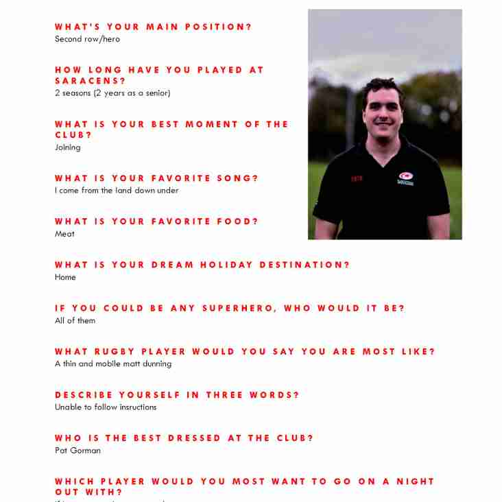 Senior Squad Player Profiles featuring Dan Pincus