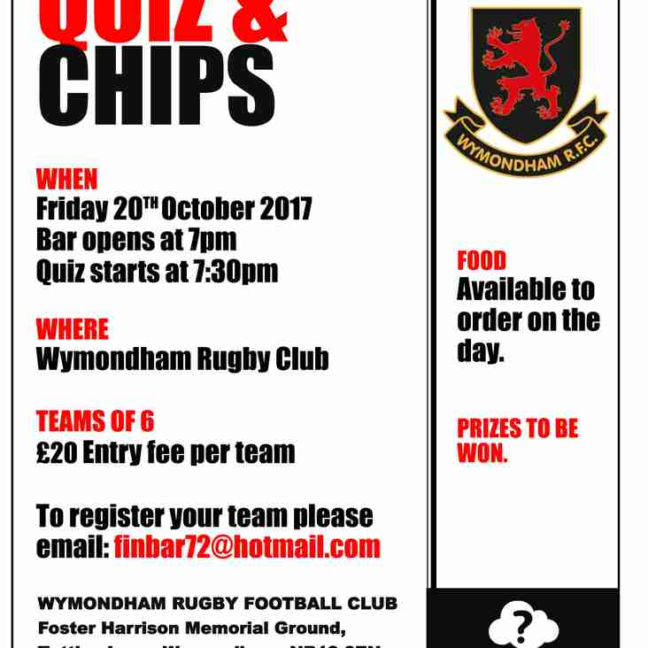 Quiz & Chips Evening and other forthcoming events