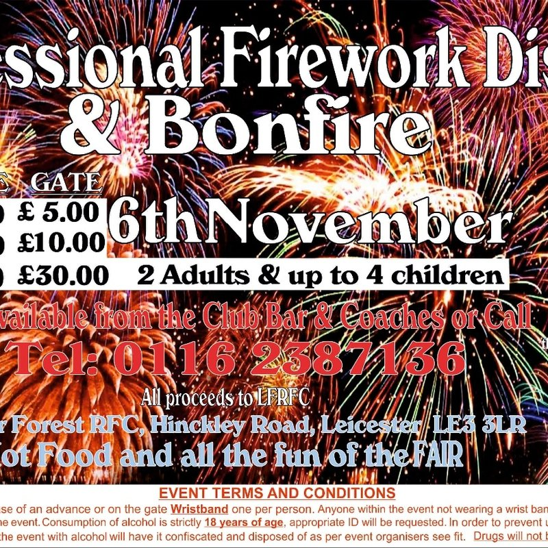 Professional Firework Display & Bonfire - Sun 6th Nov - At LFRFC