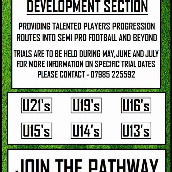 MANAGER/COACH VACANCY IN OUR NEW DEVELOPMENT SECTION