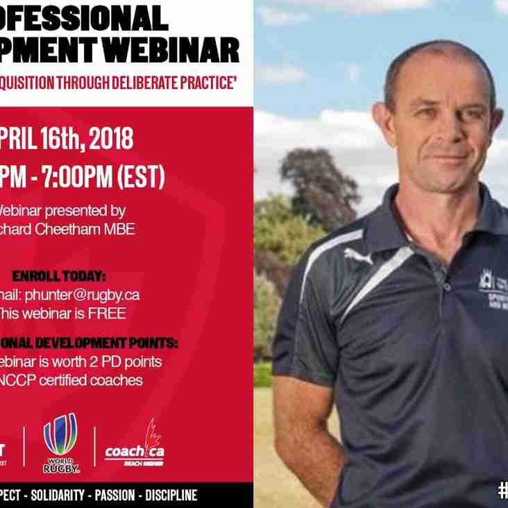 Rugby Canada is hosting a professional development webinar