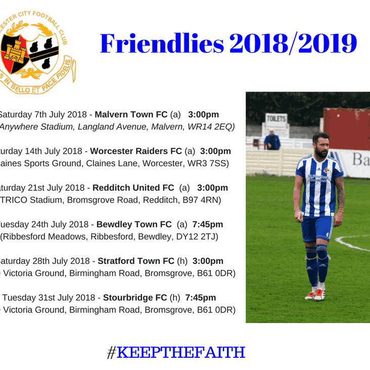 Friendly Fixtures 2018/2019 Confirmed