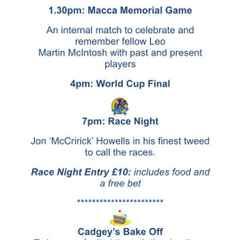 Macca Memorial Game and Charity Racenight