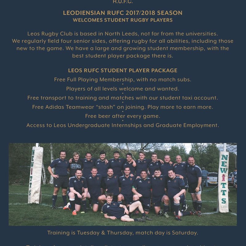 STUDENT IN LEEDS? WANT TO PLAY RUGBY? FOR FREE?