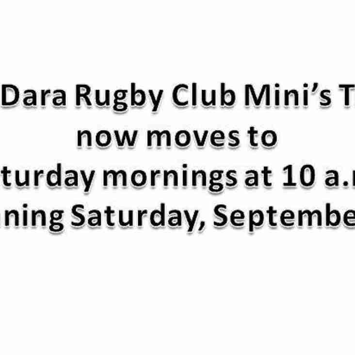 Mini Training Moves To Saturdays