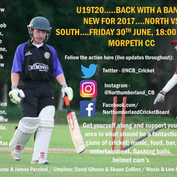 Under 19 T20 Challenge North v South 6pm start