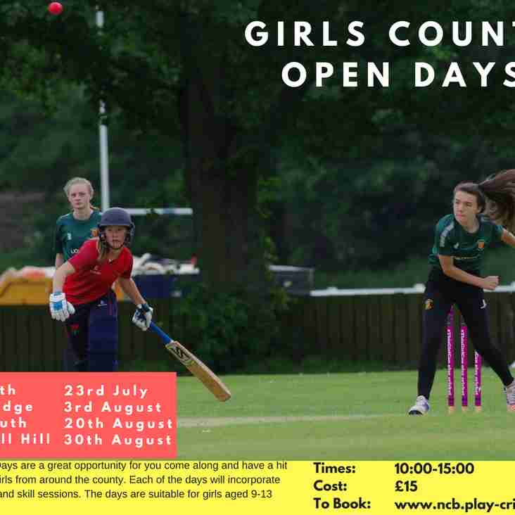 NCB Girls Cricket Open Days