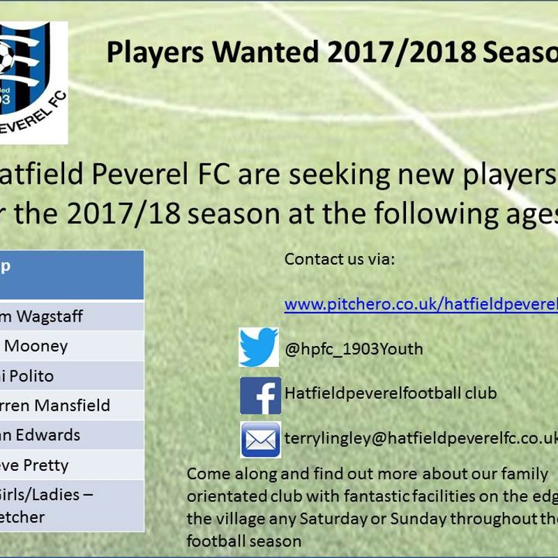 New Players wanted for 2017/2018 season