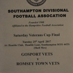 Tuesday 25th April 2017, Saturday Vets Cup Final. Romsey Vets v Gosport Vets. FS - Romsey Vets 1, Gosport Vets 2