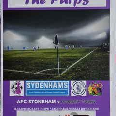 Tuesday 4th December 2018, Sydenhams Wessex League 1, AFC Stoneham (A) Lost 4-0