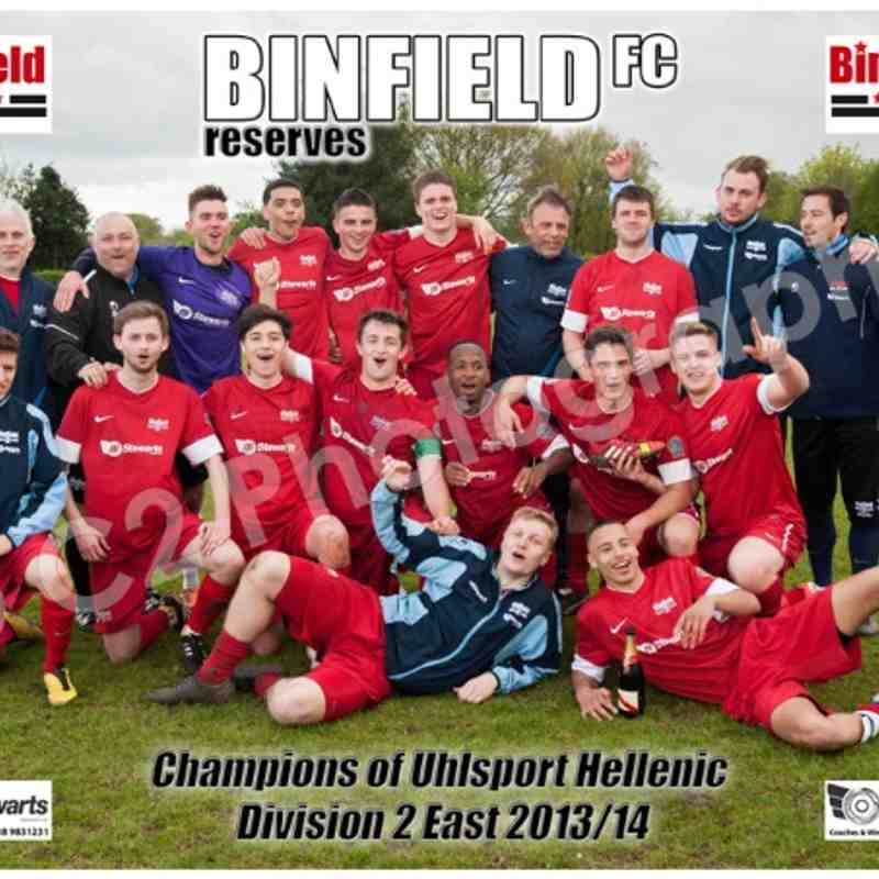 BINFIELD RESERVES - Champions Uhlsport Div 2 East 2013/14