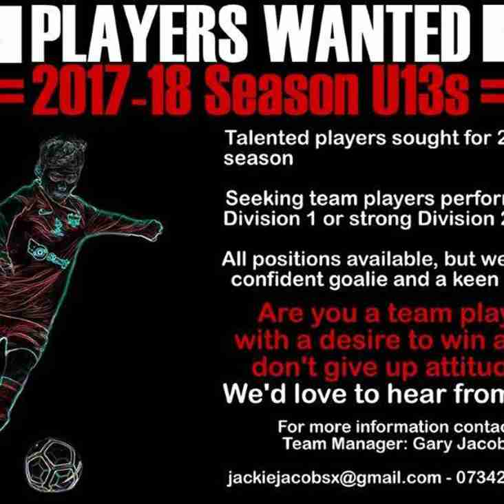 U13 SCORPIONS SEEKING A COUPLE OF PLAYERS....