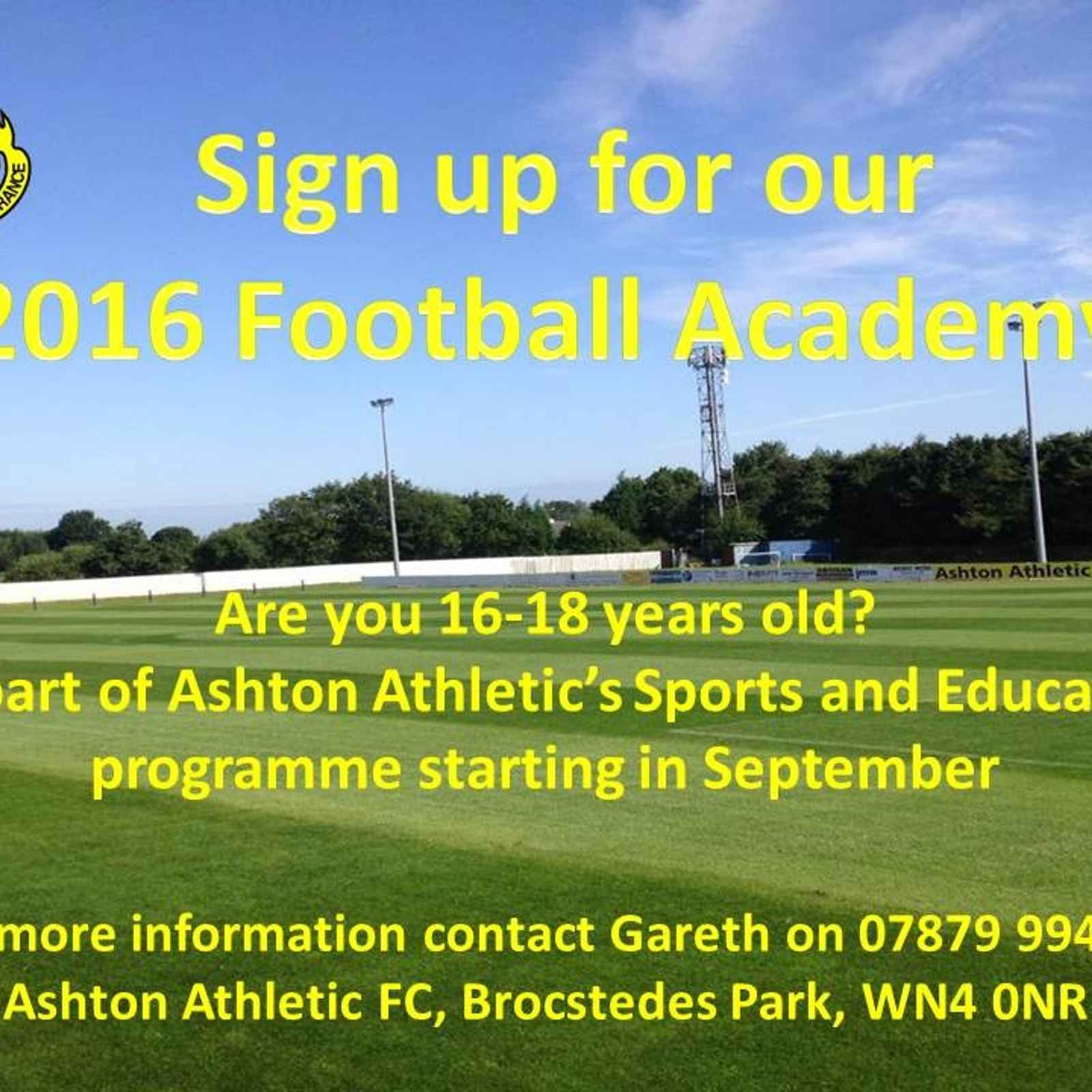 Sign up for our 2016 Football Academy