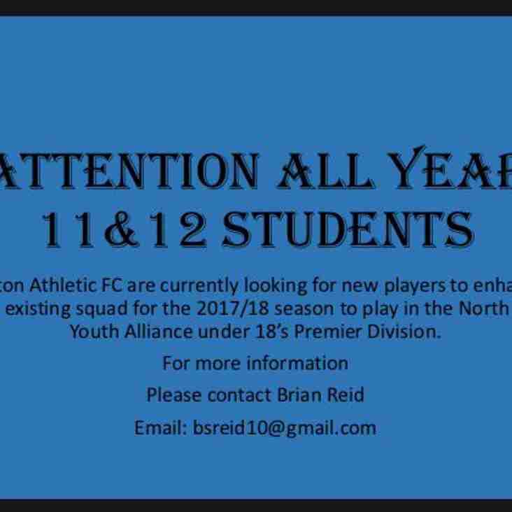 Ashton Athletic 18's now recruiting