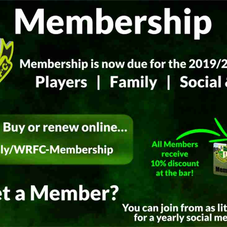 2019/20 Membership Now Due