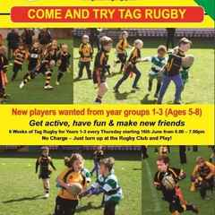 6 WEEKS OF FREE TAG RUGBY AT GRUFC FOR  5 - 8 YR OLDS!!