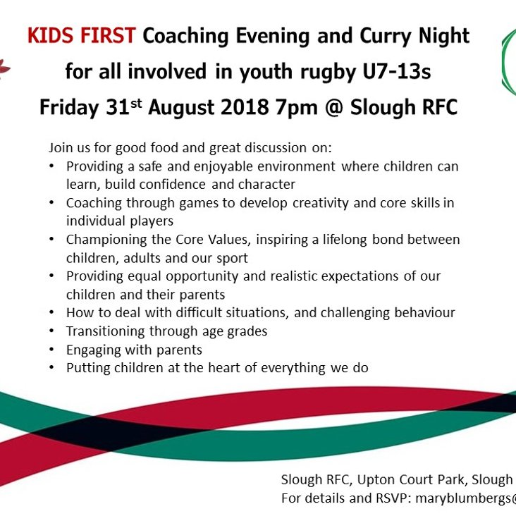 Coaching evening and curry night 31st August<