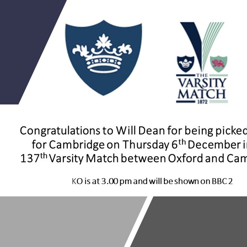 MRFC player in 137th meeting of Oxford against Cambridge in the 'Mens Varsity Match'