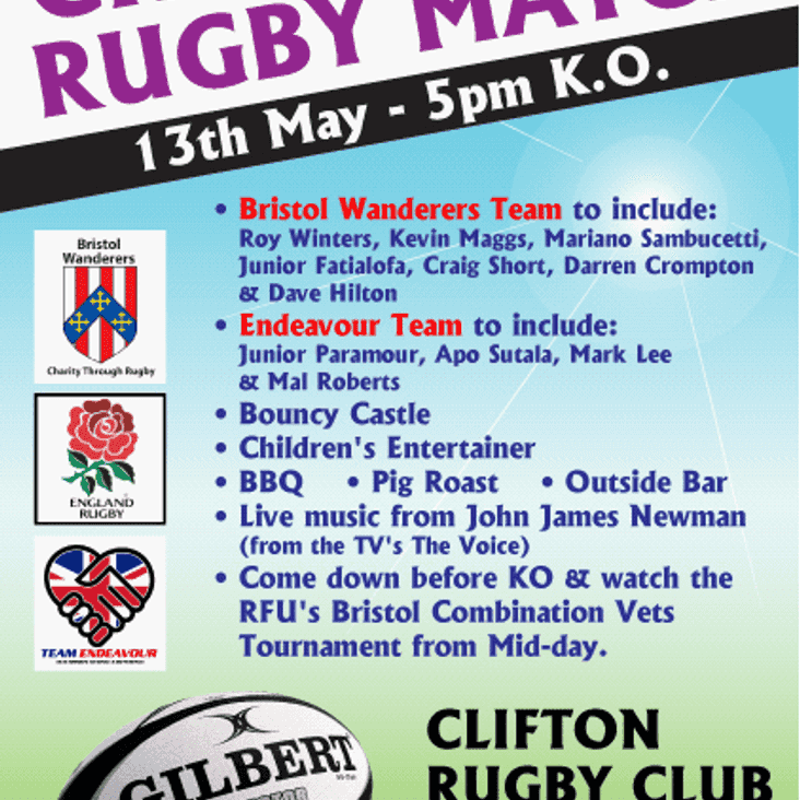 Rugby Spectacular at Clifton - and it's all for Charity!