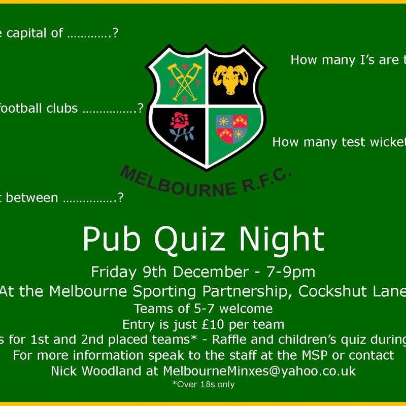 MRFC to host Pub Quiz
