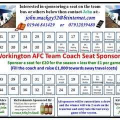 Workington AFC team bus seat sponsorship