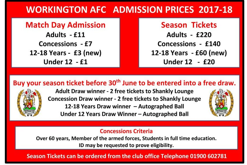 Ticket prices for season 2017/18