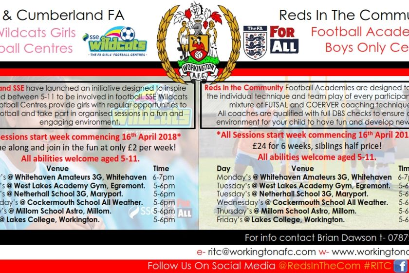 SSE Wildcats Girls Football Centres & Reds In The Community Boys Football Academies
