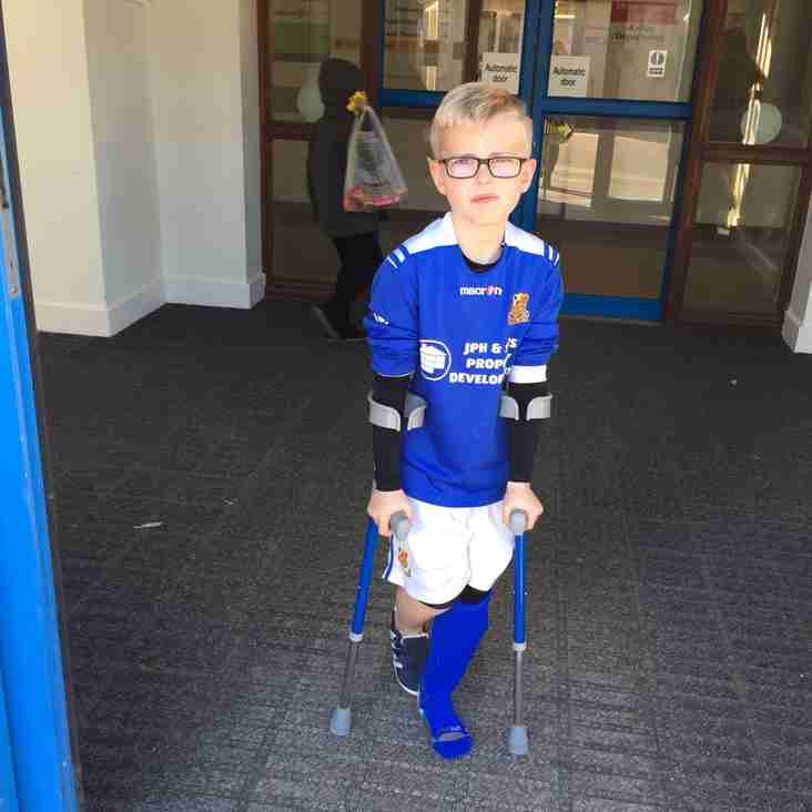 Wishing  Callum Reid who plays for the U10 Green. A speedy recovery