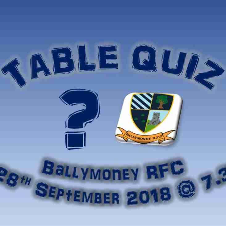 Ballymoney RFC Table Quiz - Fri 28th September