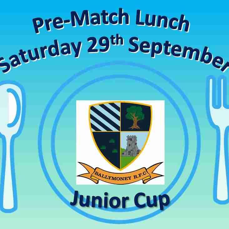 Pre-Match Lunch - Sat 29th September