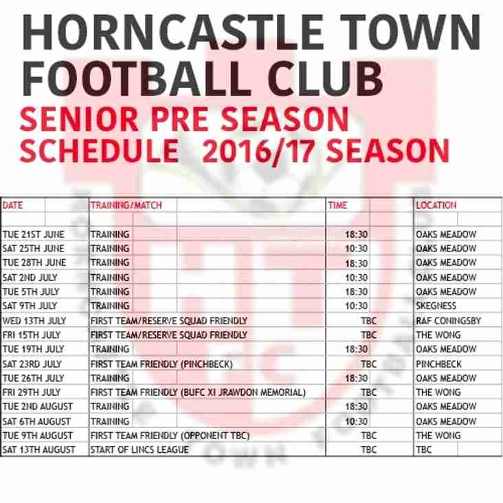 Senior Pre Season Schedule
