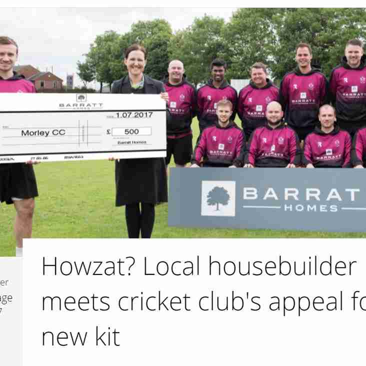 Howzat? Local House Builder Meets Cricket Club's Appeal For New Kit