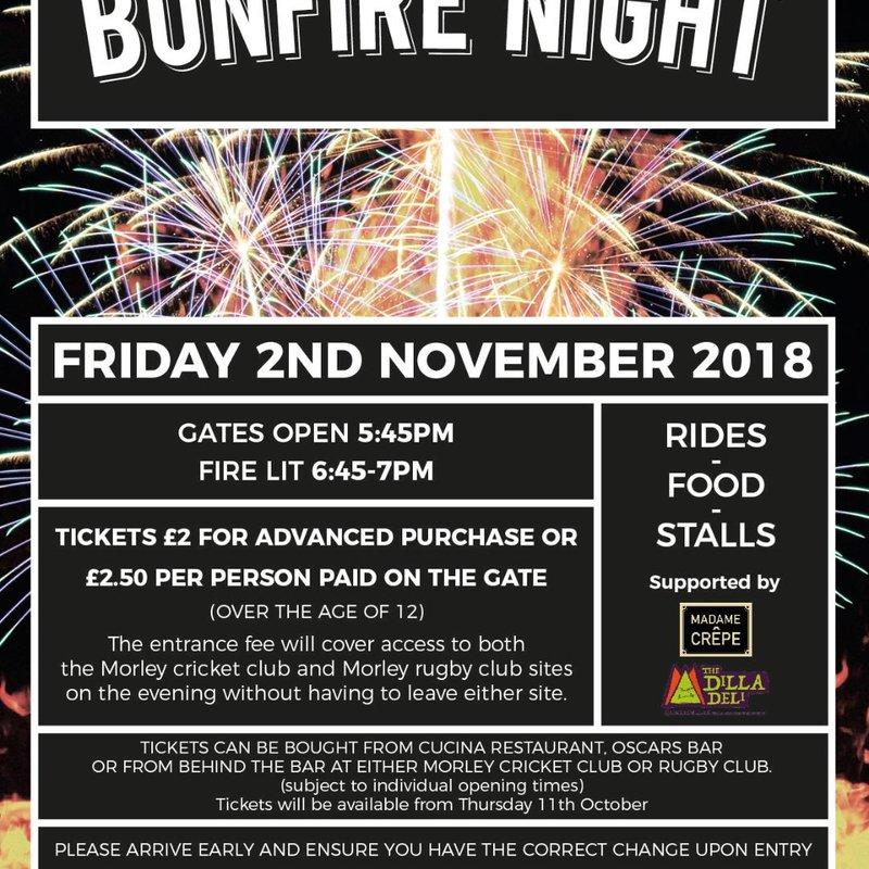 Morley CC Bonfire Night - Friday 2nd November....