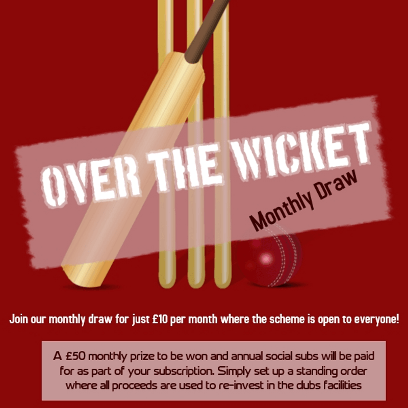 """Join our monthly """"Over the Wicket"""" draw for just £10 a month...."""