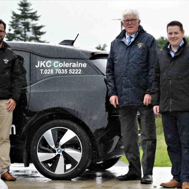 Club President, John Campbell, with  Club Sponsor, JKC, Coleraine