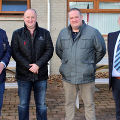 Ballymoney RFC President, John Waide and Club Chairman, John Hunter with representatives of the match day sponsors, River Ridge Recycling.