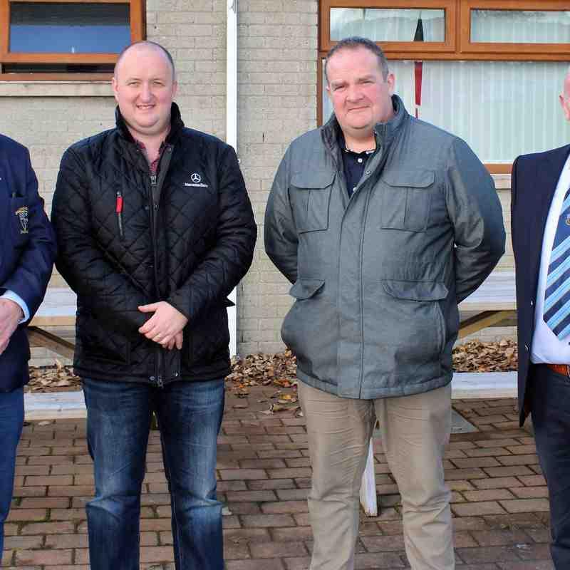 Ballymoney RFC President, John Waide and Club Chairman, John Hunter with representatives of the match day sponsors, River Ridge Recycling.