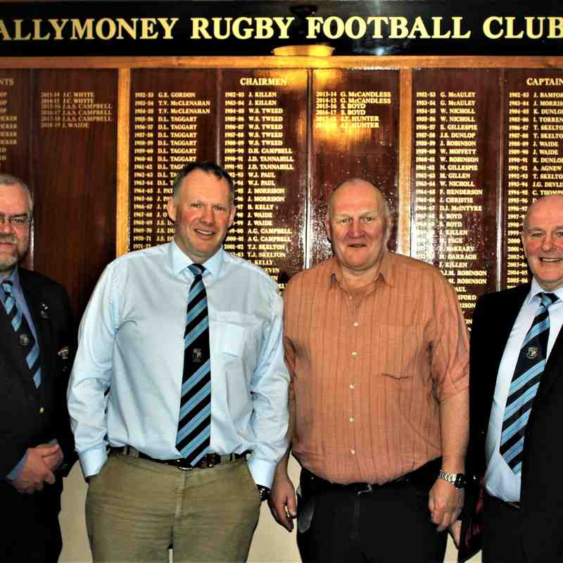 Match Day Sponsors greeted by Club President, John Waide and Club Chairman, John Hunter.